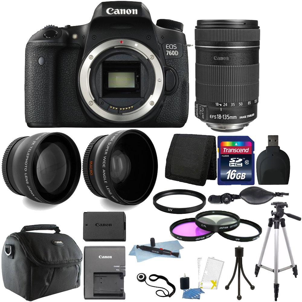 Canon EOS Rebel 760D/T6s 24.2MP DSLR Camera + 18-135 Lens...