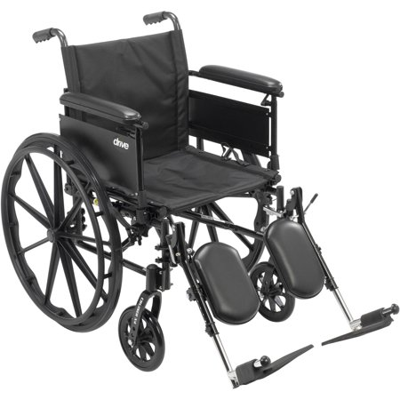 Drive Medical Cruiser X4 Lightweight Dual Axle Wheelchair With Adjustable Detachable Arms  Full Arms  Elevating Leg Rests  20  Seat