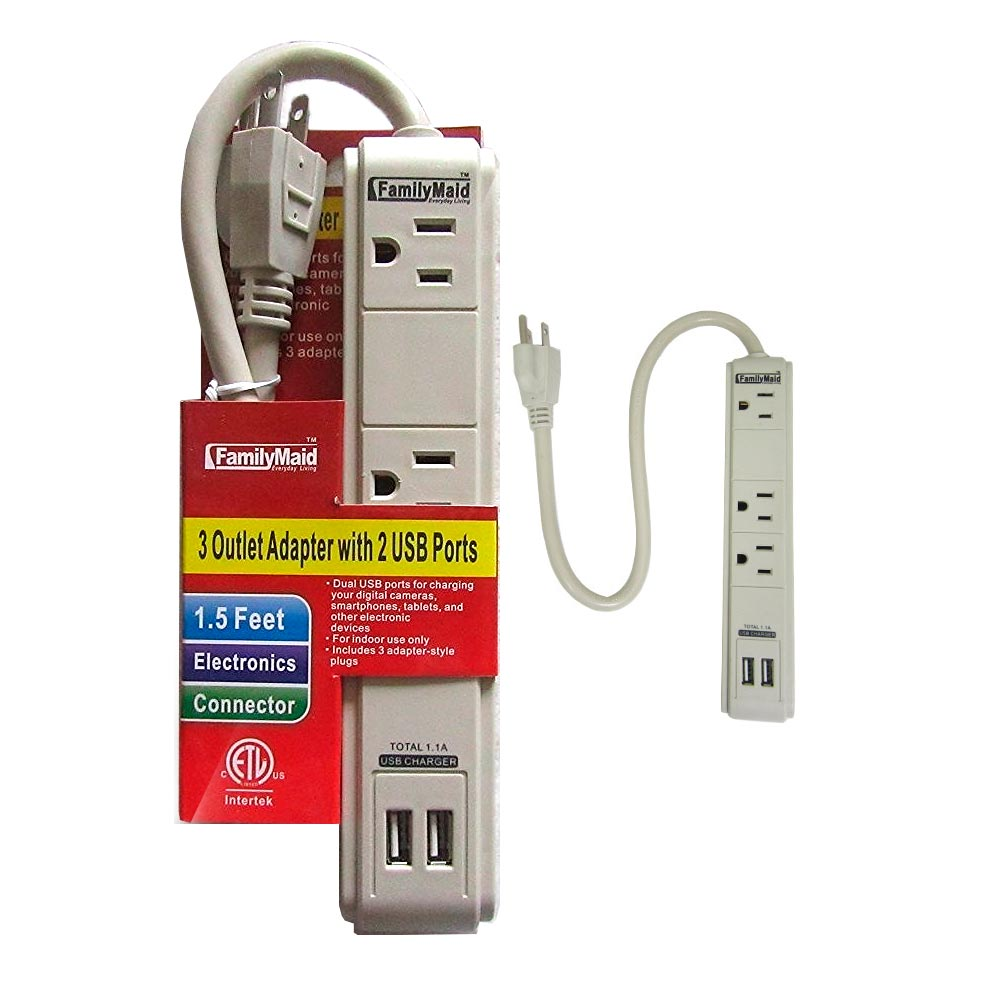 3 Outlet Surge Protector Dual 2 USB Charging Ports Power Socket Strip Adapter