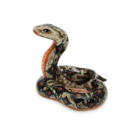 Handmade Miniatures Ceramic Red-spotted Snake Figurine Animals Decor/Animal Collection
