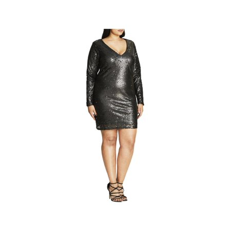 City Chic Womens Plus Sequin Deep V Party Dress - Party City Dresses