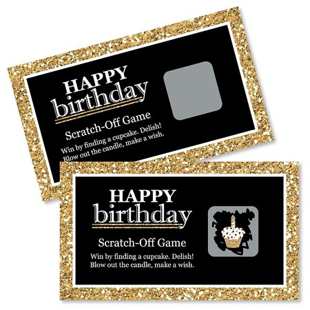 Adult Happy Birthday - Gold - Birthday Party Game Scratch Off Cards - 22 Count