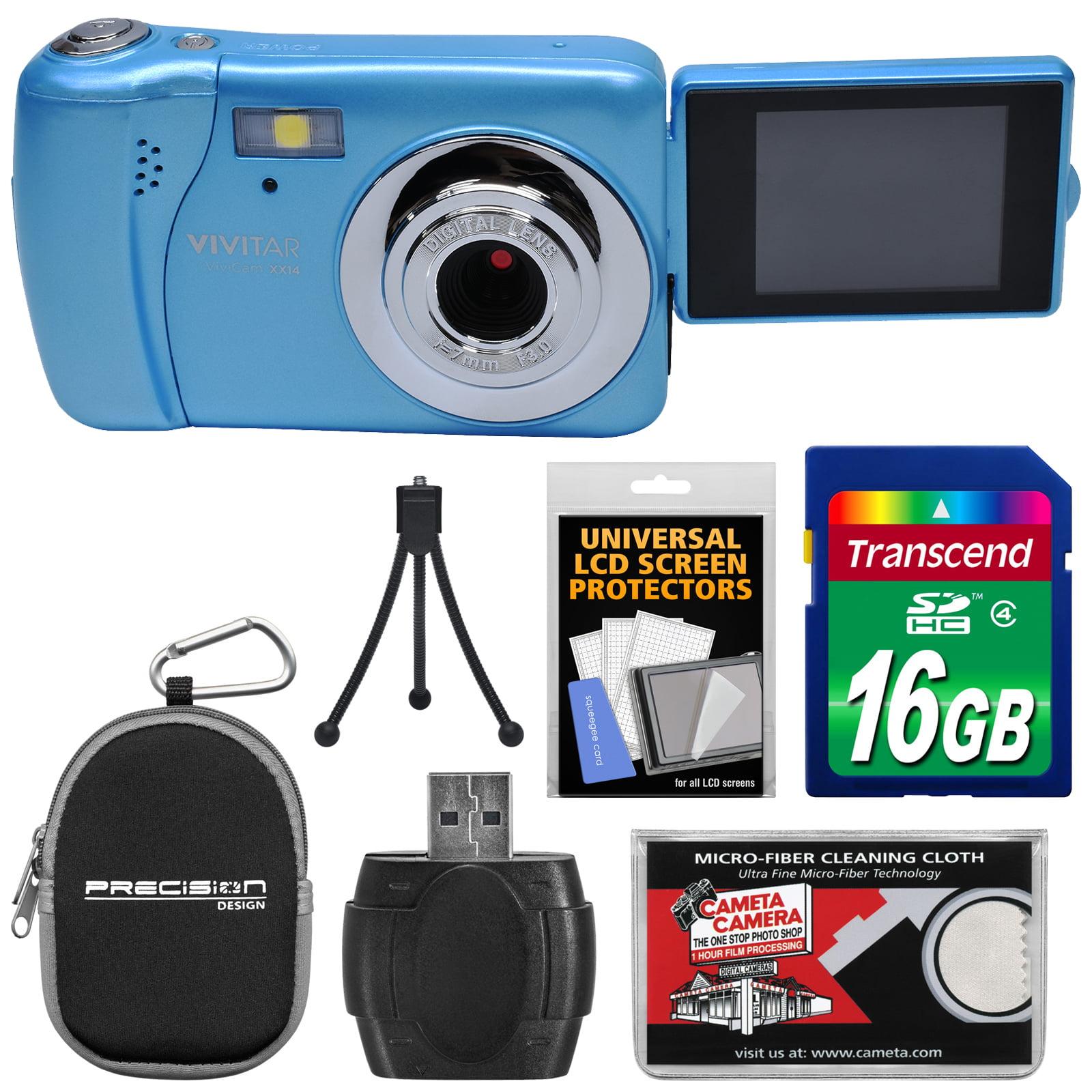 Vivitar ViviCam VXX14 Selfie Digital Camera (Blue) with 16GB Card + Case + Tripod + Reader + Kit by Vivitar