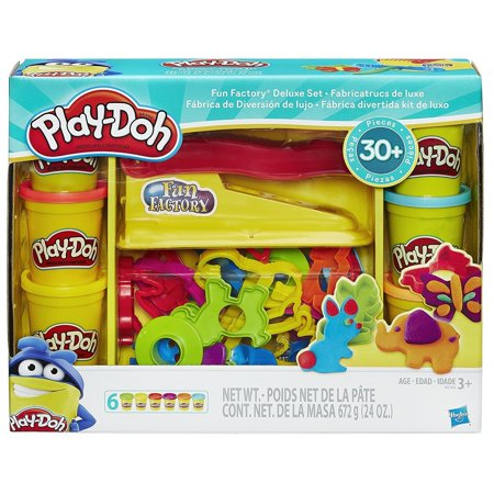 Play Doh Fun Factory Deluxe Set With 6 Cans Of Dough 30 Tools