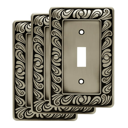 Franklin Brass Paisley Single Switch Wall Plate in Brushed Satin Pewter, (Brushed Brass Plates)