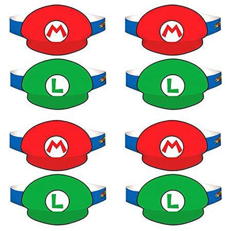 Super Mario Bros. Paper Party Hats, 8 Pack - Super Mario Bros Hats