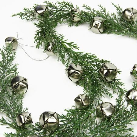 5 silver jingle bell glitter pine artificial christmas garland