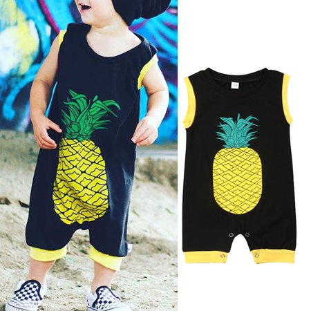 Summer Newborn Infant Toddler Baby Boy Girl Cotton Sleeveless Romper One-Piece Jumpsuit Clothes Outfit - Pineapple Print Overalls