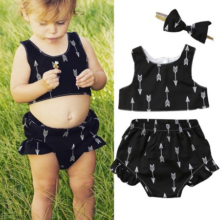 49f6e20d4a7 2Pcs Newborn Infant Baby Girls Sleeveless Crop Tops Shorts Outfits Sets  Clothes