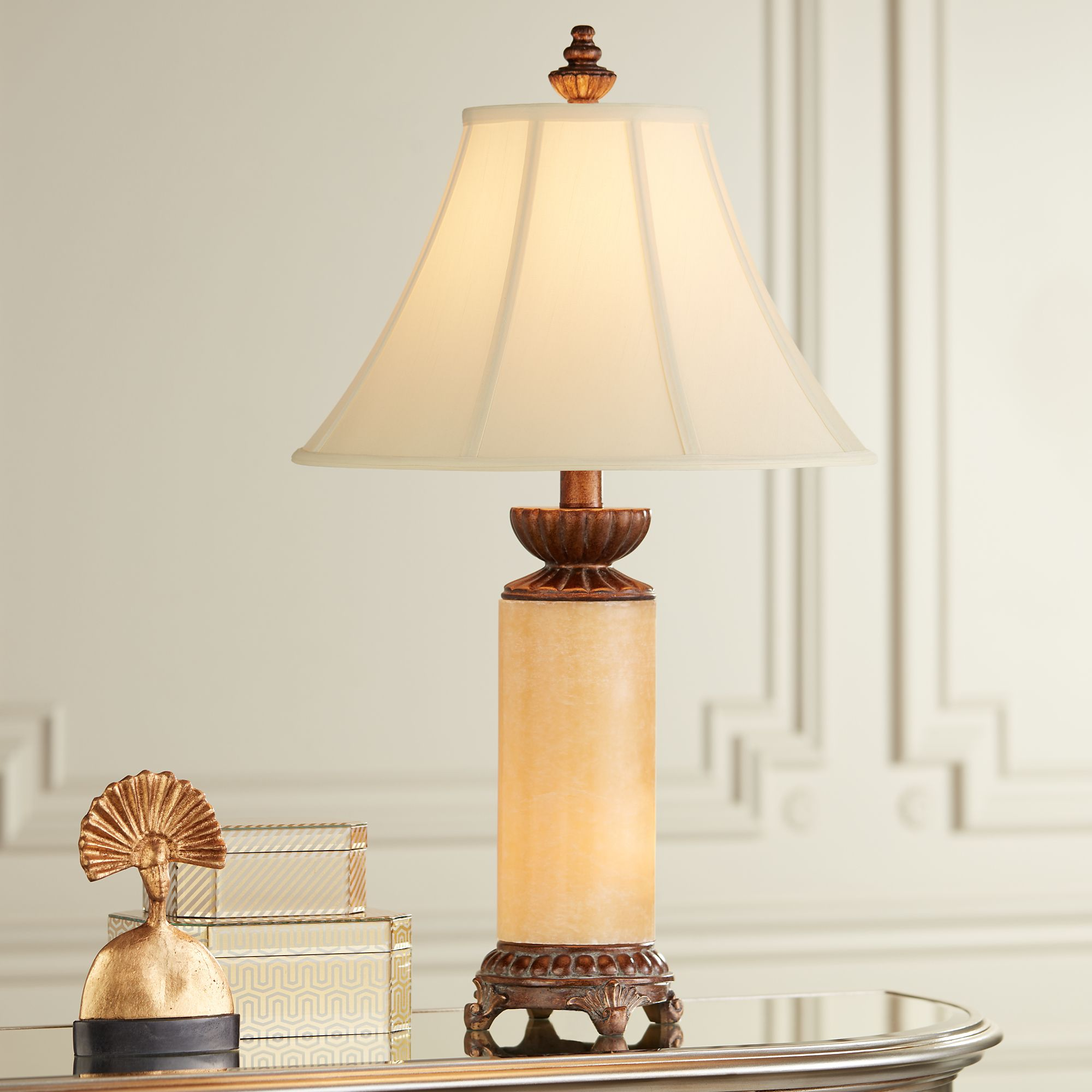 Barnes and Ivy Traditional Table Lamp with Nightlight Bronze Onyx Column Off White Bell Shade for Living Room Family Bedroom