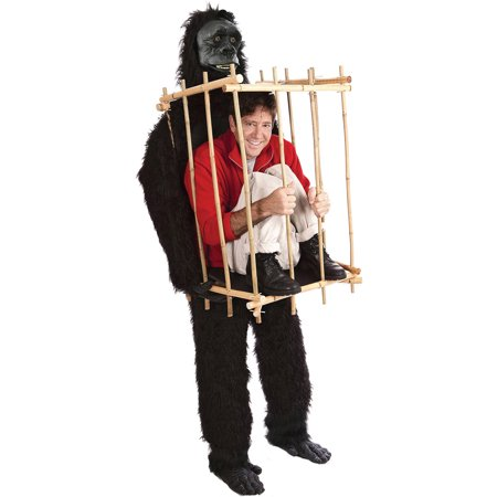 Man In Cage Gorilla Costume (Get Me Outta This Cage Men's Adult Halloween Costume, One Size,)