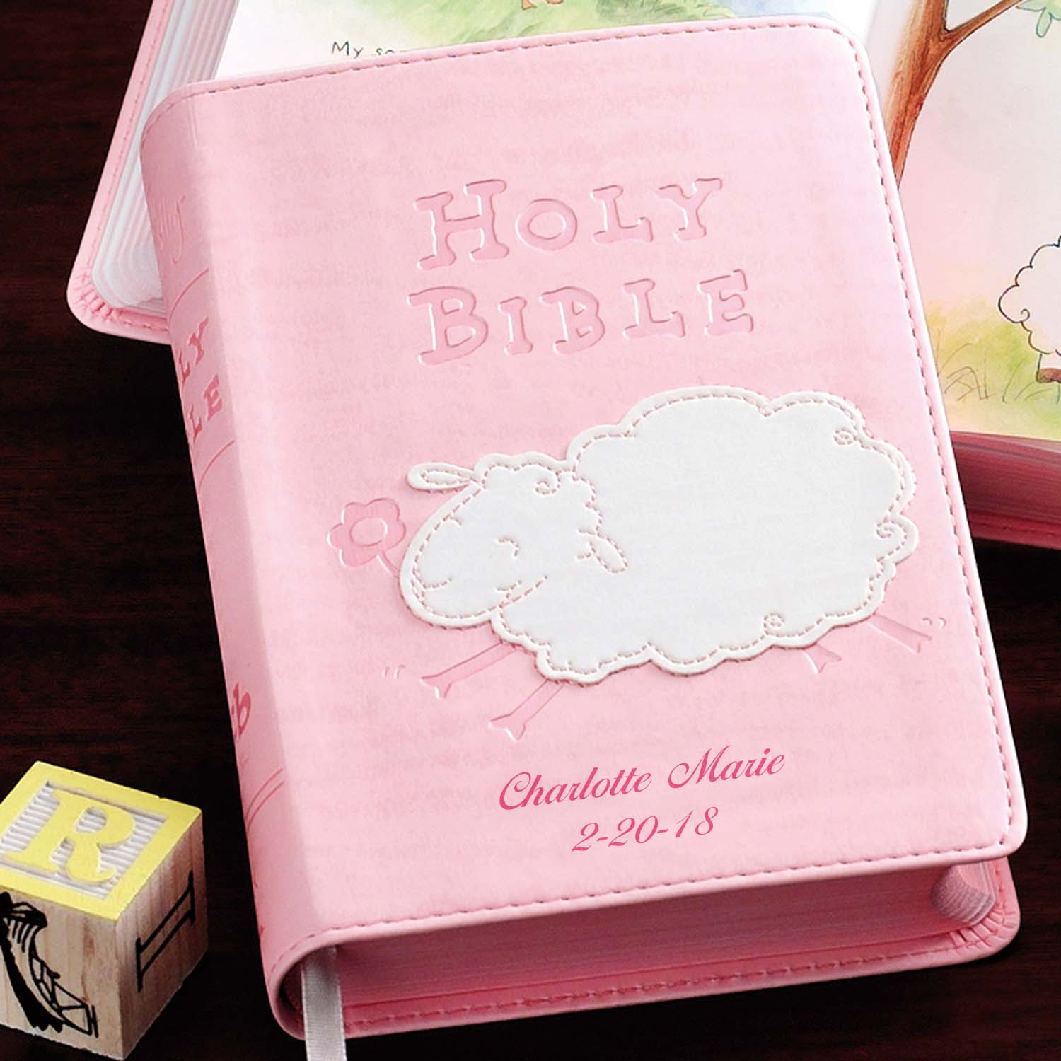 Personalized Lamb Children's Bible, Available in Blue or Pink
