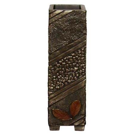 Rust Collection (10.75 Inch Bronze Hued Vase Autumn Collection with Rust Leaves)