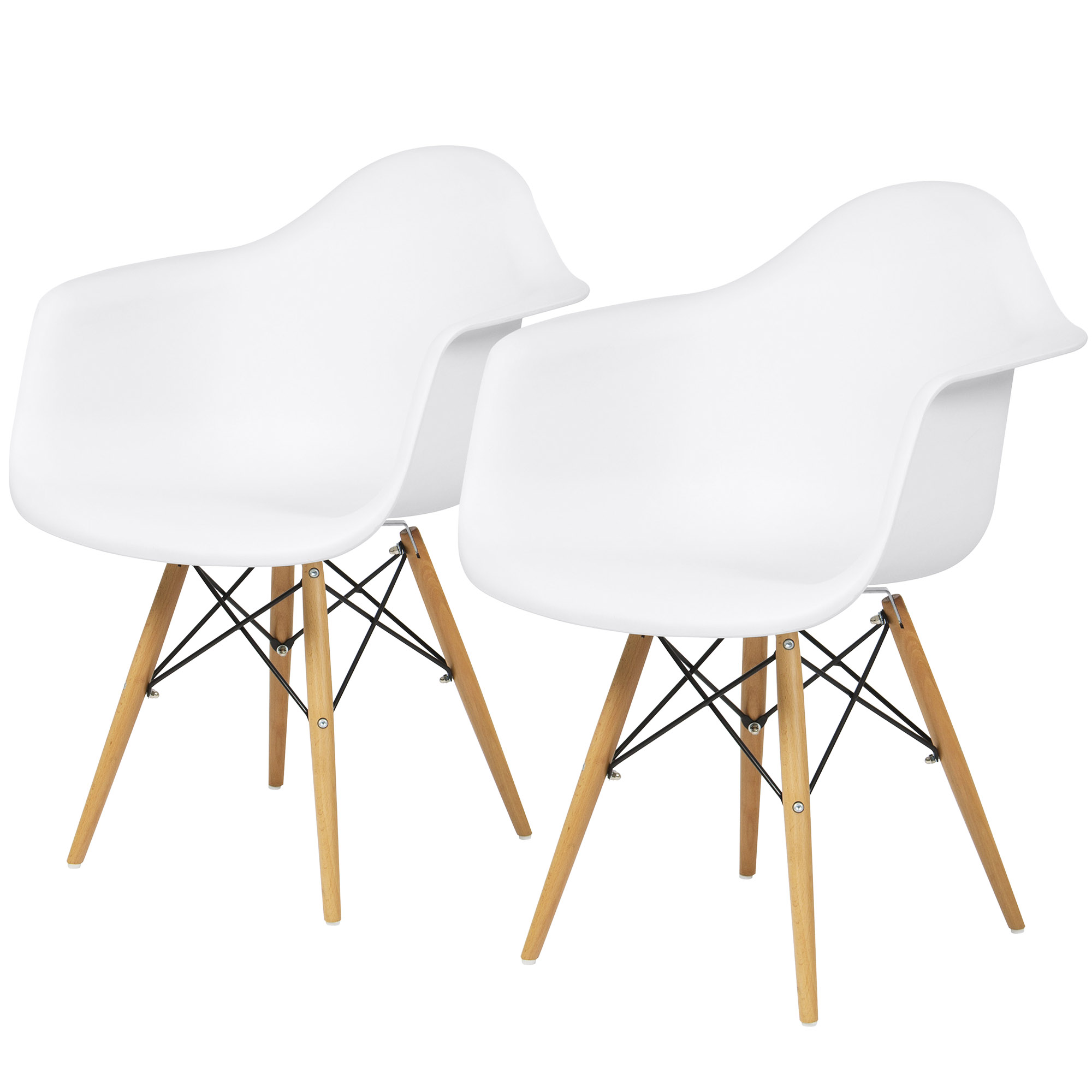 Best Choice Products Set of 2 Mid-Century Modern Eames Style Accent Arm Chairs for Dining, Office, Living Room - White