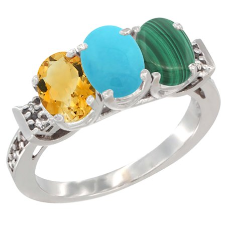 14K White Gold Natural Citrine, Turquoise & Malachite Ring 3-Stone 7x5 mm Oval Diamond Accent, sizes 5 - (Turquoise Malachite)