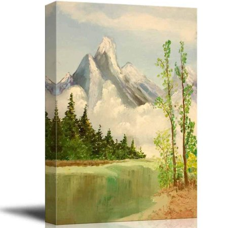 wall26 Beautiful Scenery of Mountain and Lake Nature Landscape at Day Time - Giclee Print Canvas Wall Art Oil Painting Reproduction Modern Home Decor Ready to Hang - 24
