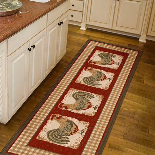 Orian Country Rooster Spanish Red Runner Walmart Com