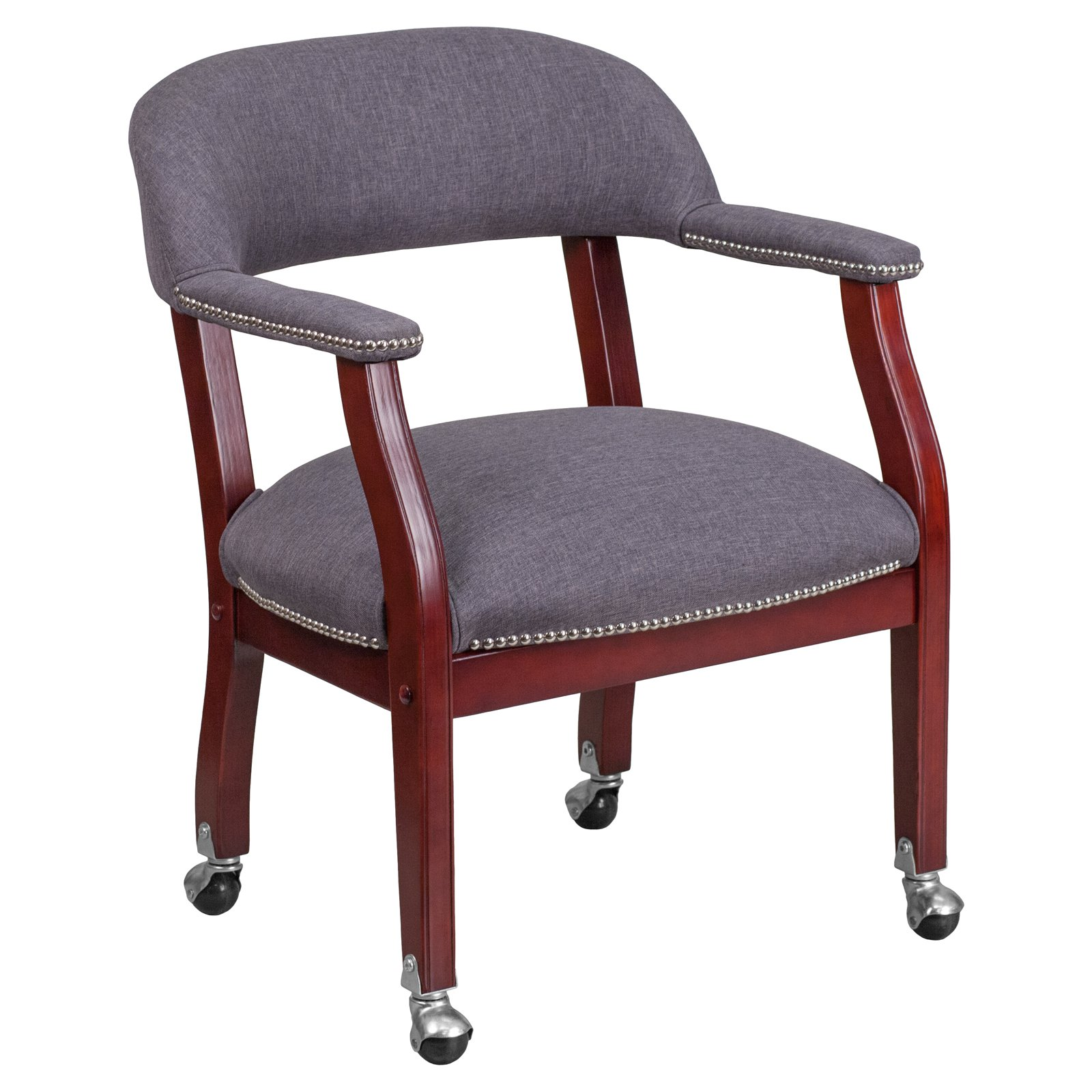 Flash Furniture Gray Fabric Luxurious Conference Room Chair with Silver Trim Nails and Casters