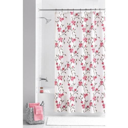Interesting Floral Shower Curtain Set Hooks Included I Intended Design