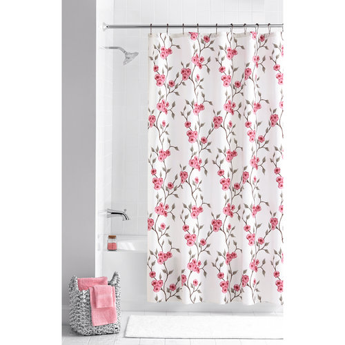 Mainstays Multi-Color Amelia 13-Piece Floral Shower Curtain Set, Hooks Included