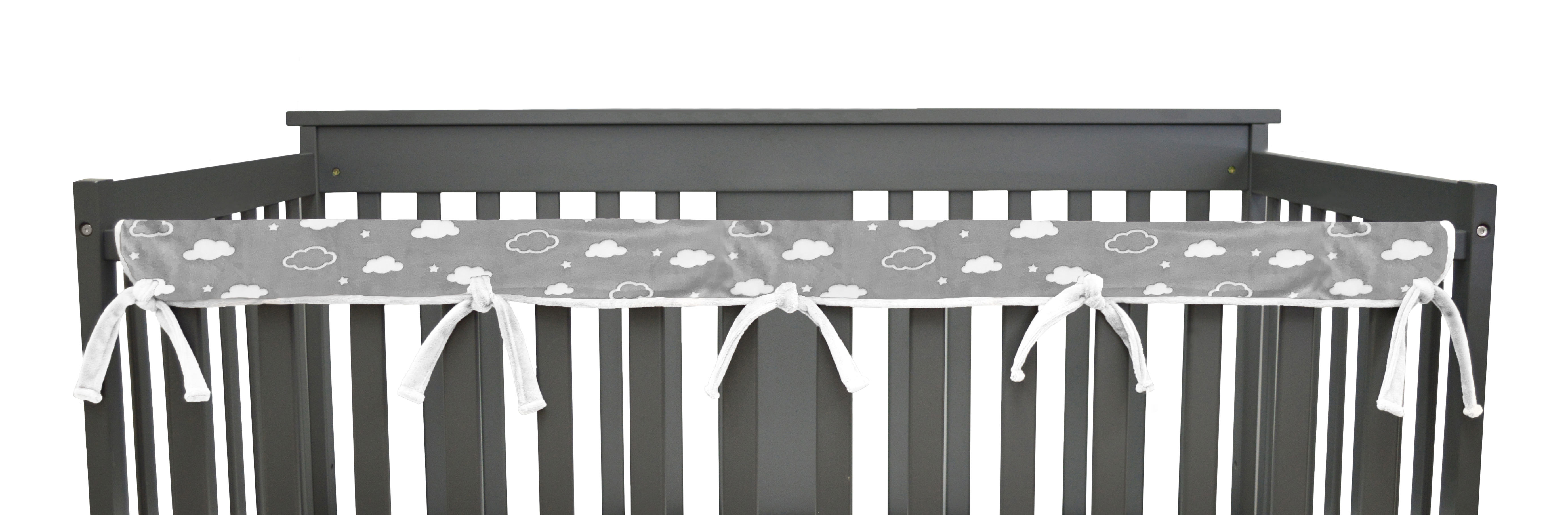 American Baby Company Heavenly Soft 5 Piece Crib Rail Bedding Set 3D Cloud Grey for Boys and Girls
