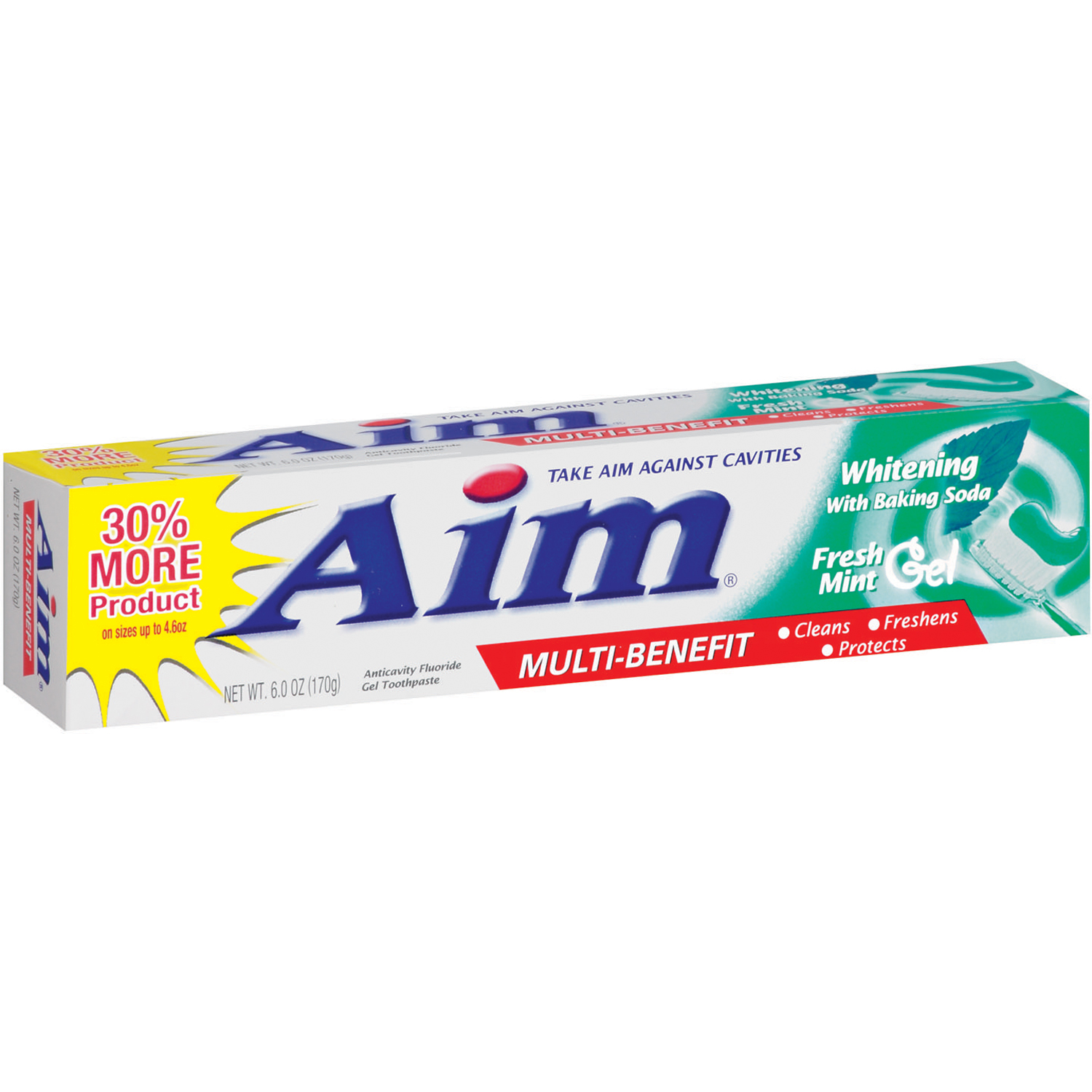 Aim® Multi Benefit Whitening with Baking Soda Fresh Mint Gel Toothpaste 6 oz. Box