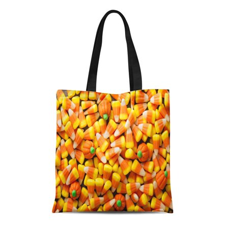 ASHLEIGH Canvas Tote Bag Colorful Candy Corn and Pumpkin Halloween Overhead Shot Orange Durable Reusable Shopping Shoulder Grocery Bag (Halloween Candy Corn Jello Shots)