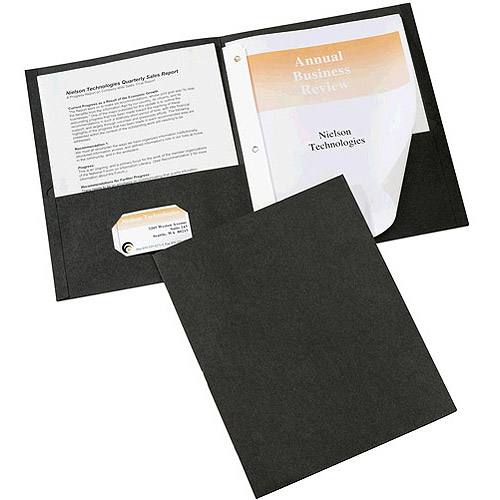 Avery Paper 2-Pocket Folders, 25pk, Black