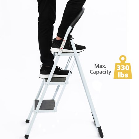 KingSo 3 Step Ladder Folding Step Stool Platform Ladder with Handgrip Anti-Slip and Wide Pedal Sturdy Steel Ladder, 330Lbs High Capacity for Home Use, Library Use Multi-Function