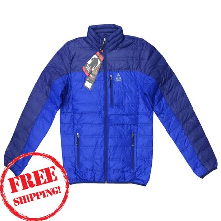 GERRY Men's NWT Feather Down Lightweight 650 Rated Zip Jacket Cobalt Blue