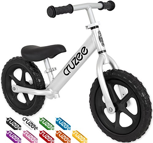 Cruzee UltraLite Balance Bike (4.4 lbs) for Ages 1.5 to 5 Years - BW Silver