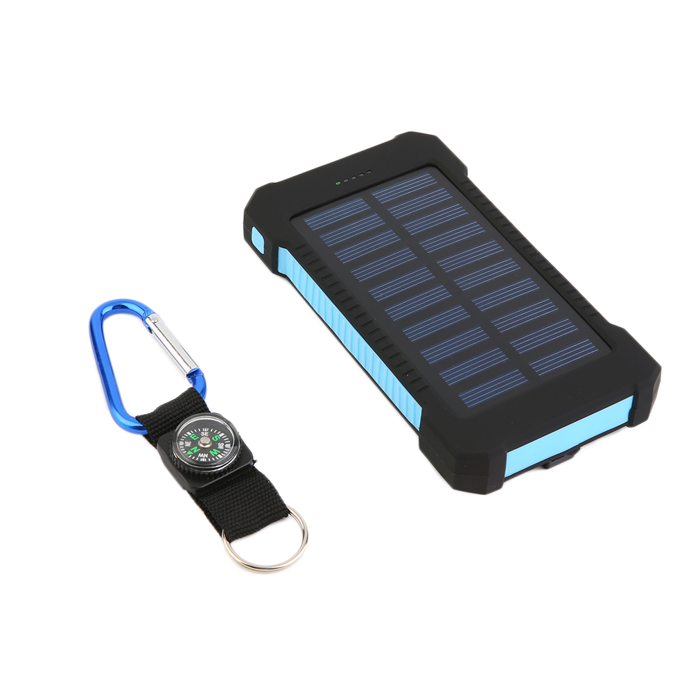300000mAh Dual USB Portable Solar Battery Charger Solar Power Bank High Capacity Environmentally-friendly,black blue by