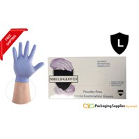 Blue Nitrile Powder Free Gloves Disposable Economy Gloves Size: Large - 100 Pieces (1 Box)