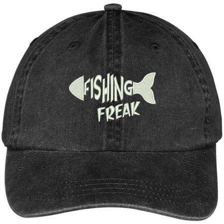 Trendy Apparel Shop Fishing Freak Embroidered Cotton Washed Baseball Cap - Black
