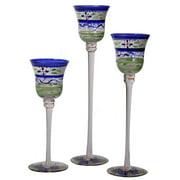 "Set of 3 Blue Floral Hand Painted Stemmed Glass Votive Candleholders 12"""