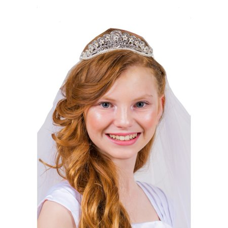 Kids Dream Girls White Rhinestone Pearl Accent Tiara Communion Flower Girl - Veil Communion