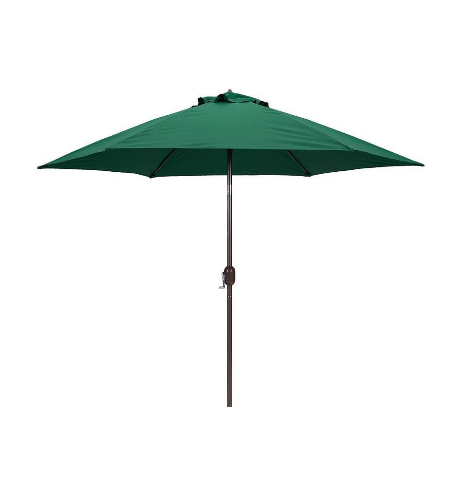 Sun-Ray 9' Solar Lighted Market Patio Umbrella, Forest Green by Sun-Ray