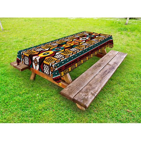 Kente Pattern Outdoor Tablecloth, Vertical Borders Inspired by Primitive African Cultures Geometrical Design, Decorative Washable Fabric Picnic Table Cloth, 58 X 84 Inches,Multicolor, by Ambesonne
