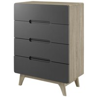 Modern Contemporary Urban Design Bedroom Living Room Dresser Drawer Chest Stand, Wood, Grey Gray Natural