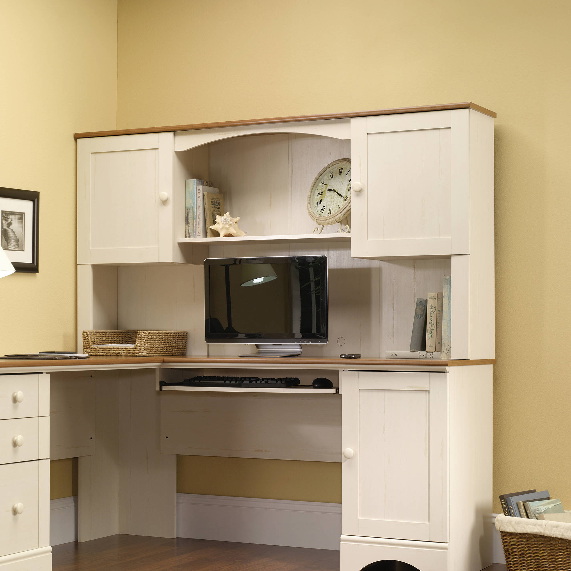 Desktop Hutch Home Office Corner Computer Desk Antiqued White Finish Top Only
