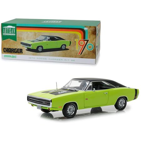 1970 Dodge Charger R/T SE 440 Sublime Green with Black Top and Black Stripes 1/18 Diecast Model Car by Greenlight