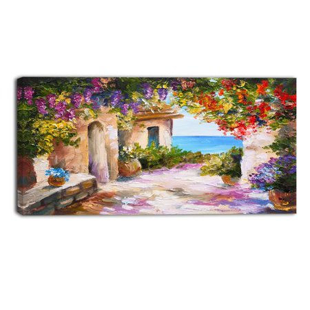 Design Art Summer Seascape Landscape Painting Print on Wrapped Canvas