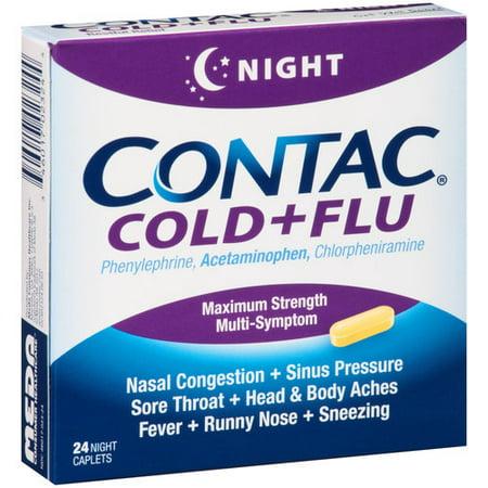 Contac Cold + Flu Maximum Strength Night Multi-Symptom Caplets, 24 ct