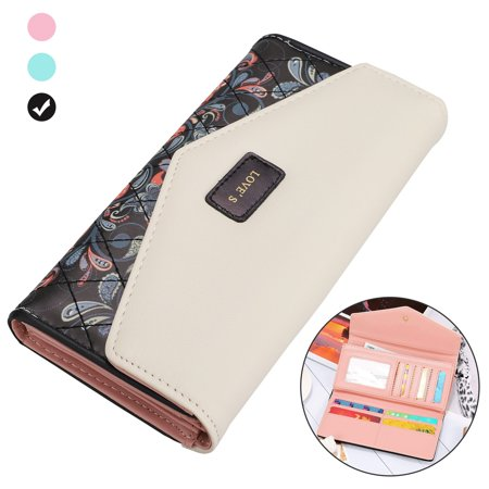 EEEKit Women's Long Wallet, Floral Printed PU Leather Purse Credit Card Clutch, Envelop Buckle Closure Long Clutch Wallet Bag, Card Holder Organizer Handbag for Women Ladies Girls, Black/Green/Pink Paw Prints Wallet