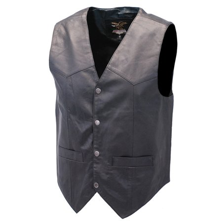 Premium Black Dress Lambskin Leather Vest for Men #VM507K