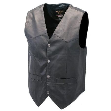Lambskin Patched Leather - Premium Black Dress Lambskin Leather Vest for Men #VM507K