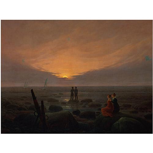 "Trademark Fine Art ""Moon Rising over the Sea 1821"" Canvas Art by Caspar Friedrich"