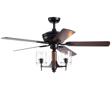 Saranac 5-Blade 52-Inch Forged Black Lighted Ceiling Fans with Clear Pillar Glass Lamps (Remote Controlled)