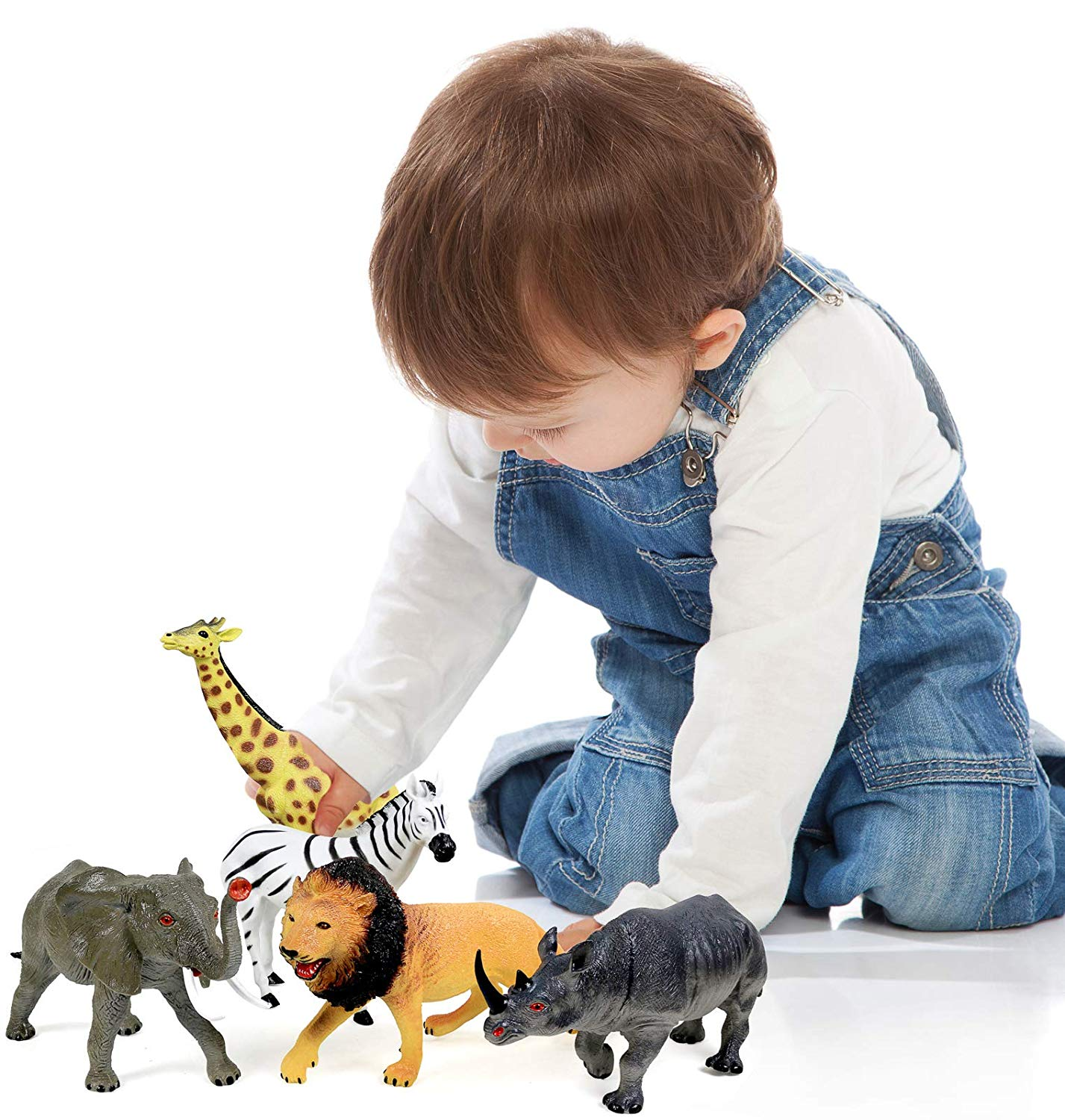 Click N/' Play Click N Play Realistically Designed Jumbo 10.5 Inch African Jungle Animal 5 Piece Playset