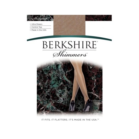 Berkshire Women's Shimmers Ultra Sheer Control Top Pantyhose - Sandalfoot - Silver Metallic Tights